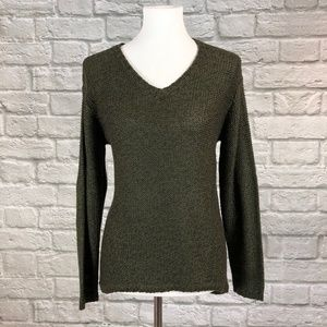 Quinn Melange Olive Sweater with Elbow Patches